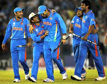 Indian team react after winning a match