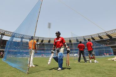 Sachin Tendulkar (C) during the India nets session at the Wankhede Stadium on Friday
