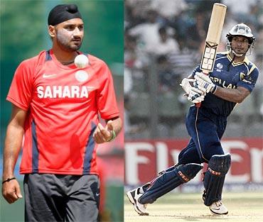 Harbhajan Singh and Kumar Sangakkara