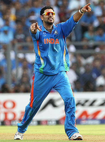Yuvraj Singh appeals for an LBW against Thilan Samaraweera, who was declared out after review