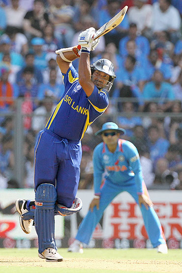 Kumar Sangakkara hits four over long on