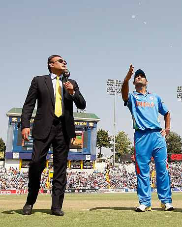 MS Dhoni during the toss