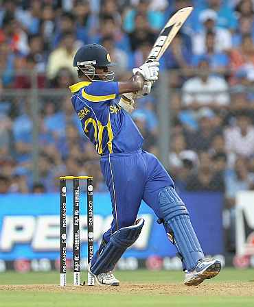 Nuwan Kulasekara plays a shot during the World Cup final against India