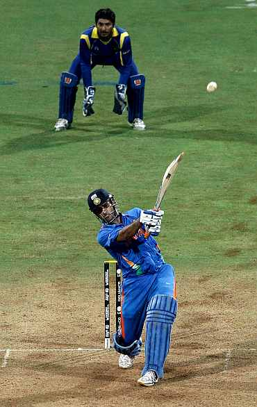 MS Dhoni hits a six during the World Cup match against Sri Lanka