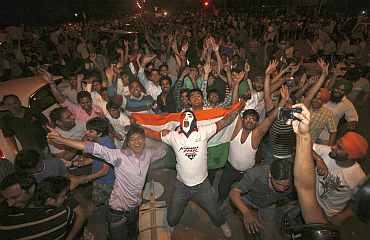 Indian fans celebrate after India won the World Cup.