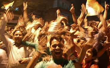Fans in Mathura celebrate after India won the World Cup