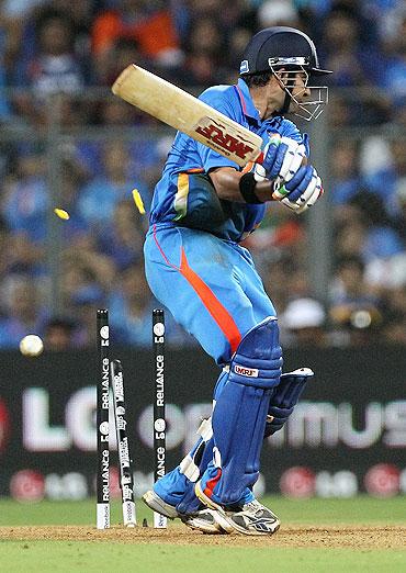 Gautam Gambhir of India is bowled by Thisara Perera
