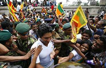 Captain Sangakkara arrives at Independence Square in Colombo