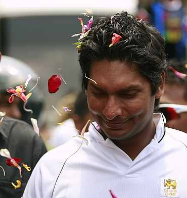 Captain Kumar Sangakkara arrives at Independence Square in Colombo