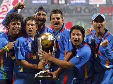 Indian players celebrate after winning the World Cup