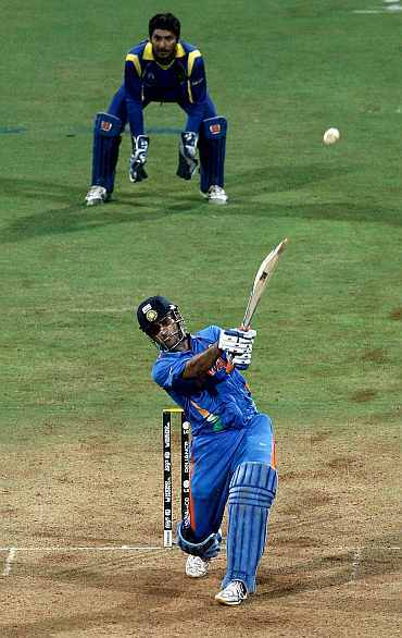 MS Dhoni hits a six to seal Indian World Cup victory