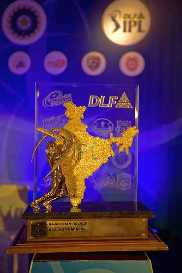 A view of the Indian Premier League Trophy