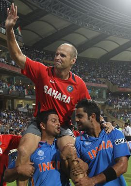 Gary Kirsten is carried aloft after the World Cup triumph