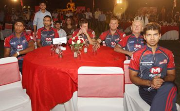 Delhi Daredevils team members at a function in Delhi on Wednesday