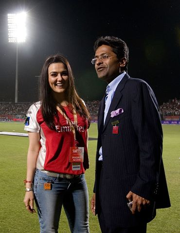 Preity Zinta  with former IPL chairman Lalit Modi