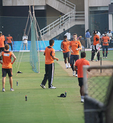 Pune Warriors' players go through the grind during a net session on Tuesday
