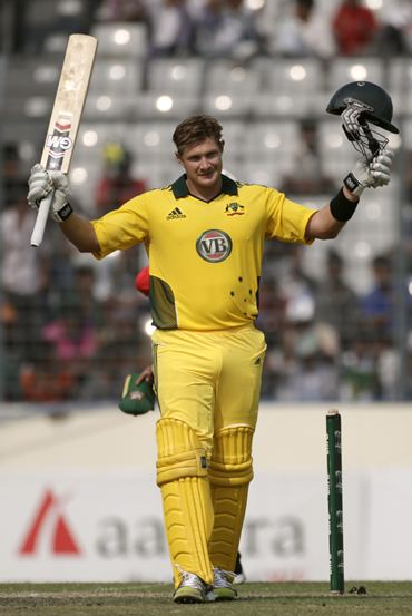 Shane Watson celebrates after getting to a hundred against Bangladesh in the second ODI