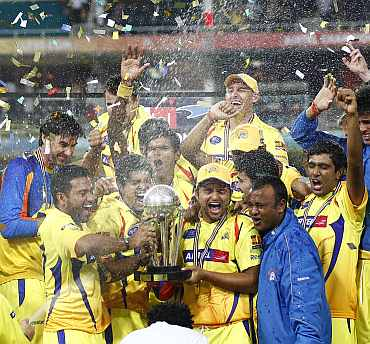 Chennai Super Kings with the IPL trophy in 2010 edition