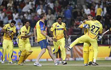 Chennai Super Kings team celebrate after winning a match
