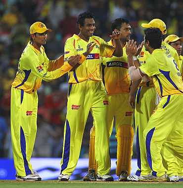 Chennai Super Kings team celebrate after picking up a wicket