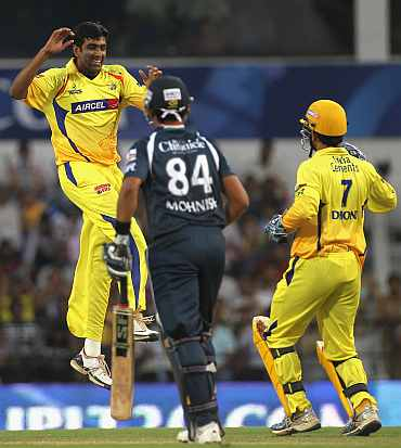 R Ashwin celebrates after picking up a wicket