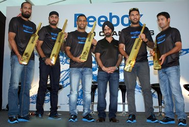 Members of the triumphant Indian team were presented a gold bat at a felicitation function by Reebok