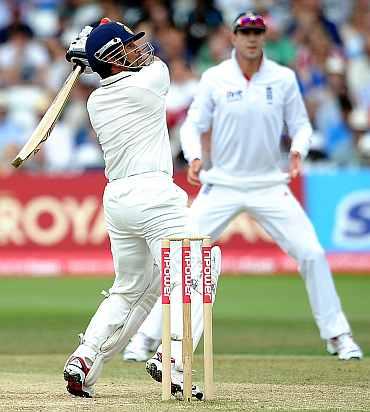 Sachin Tendulkar plays a shot during Day 4