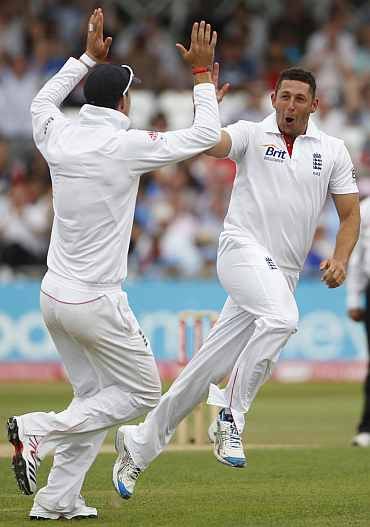 Tim Bresnan celebrates after taking a five-wicket haul