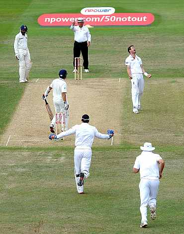 James Anderson celebrates after picking the wicket of Sachin Tendulkar