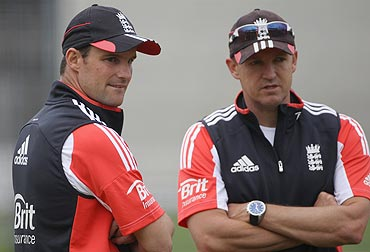 Andrew Strauss with Andy Flower