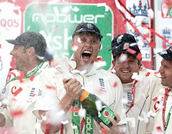 Andrew Flintoff celebrates with champagne after the 2005 Ashes triumph