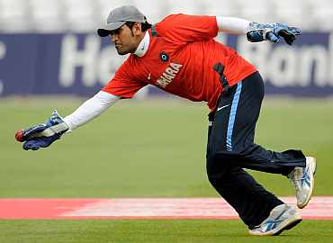 MS Dhoni during a practice session