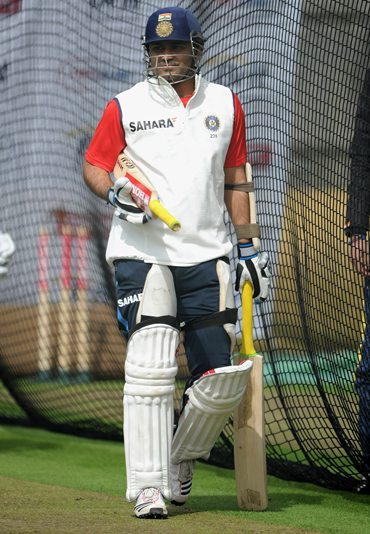 Virender Sehwag at the nets session