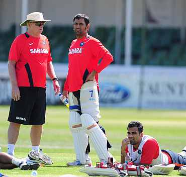 Duncan Fletcher, MS Dhoni and Zaheer Khan