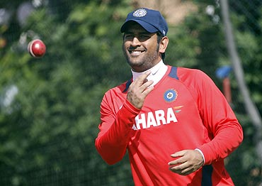 India's Mahendra Singh Dhoni at a training session at Edgbaston