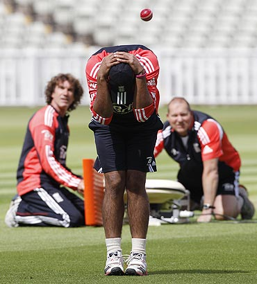 England's Ravi Bopara ducks a ball during a training session at Edgbaston
