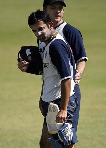 Former Team India physio John Gloster with Gautam Gambhir
