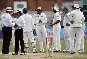 Indian players during the second Test at Trent Bridge