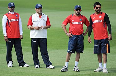 Amit Mishra, Sachin Tendulkar, Gautam Gambhir and Virat Kohli during a nets session at Edgbaston