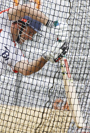 Andrew Strauss bats in the nets during a training session at Edgbaston