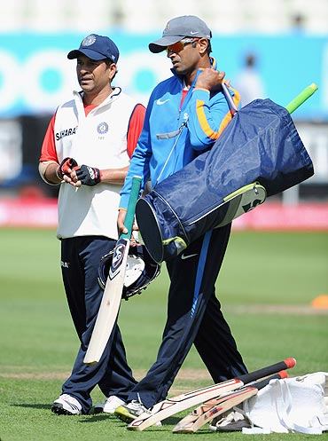 Sachin Tendulkar and Rahul Dravid during a nets session