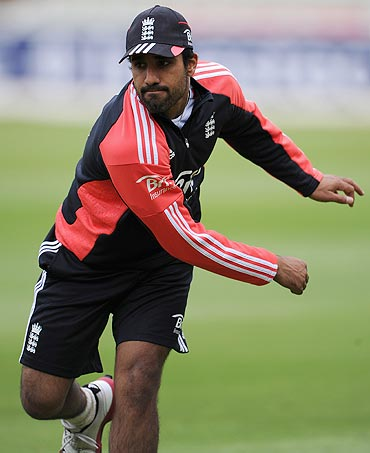 Ravi Bopara during a nets session
