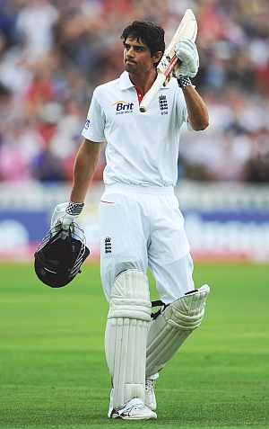 Alastair Cook acknowledges the applause from the crowd after being dismissed for 294