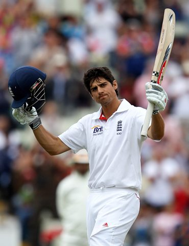 Alastair Cook celebrates after getting to hundred