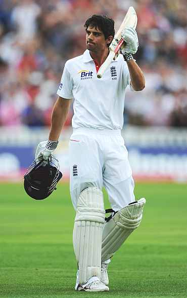 Alastair Cook celebrates after scoring a double ton