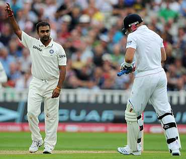 Amit Mishra celebrates after picking up Matt Prior's wicket