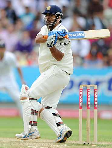 MS Dhoni plays a pull shot during the his knock against England