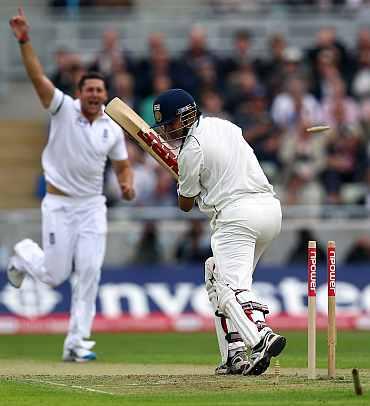 Gautam Gambhir is clean bowled by Tim Bresnan