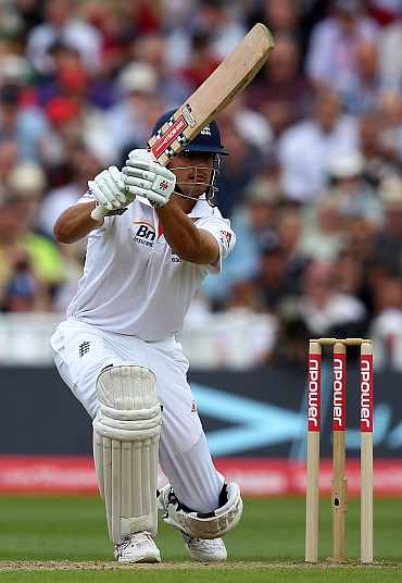 Alastair Cook hits a boundary