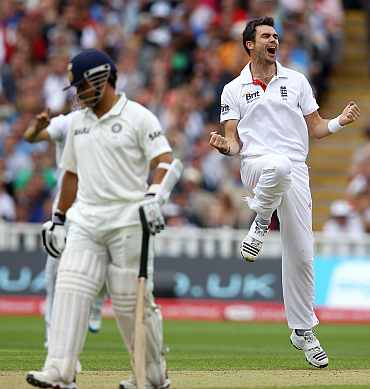 James Anderson celebrates after picking the wikcet of VVS Laxman